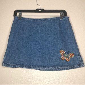 Vintage Paris Blues 1990s Denim Skirt w/ Butterfly